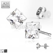 Pair of .925 Sterling Silver  Stud Earring w/Clear Square Cut CZ