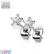 Pair of .925 Sterling Silver Stud Earring w/Clear Star Shaped CZ