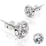 Pair of 14KT. White Gold Martini Stud Earring w/Clear CZ