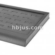 23 Slot Black Ring Leather Display Board Tray