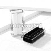 Clear Acryl Gem Box with Black & White Velvet Insert.