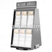 Double Side Counter Top Spinner Nose Stud Display with Secure Lock.