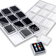 12pcs Velvet Insert Jewelry and Gem Box with Tray Set.