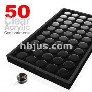 50 Slotted Removable Acrylic Jars with Velvet Insert Tray