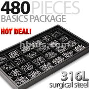 480 pcs of 316L Surgical Steel Basics Starter Package w/ Display Tray