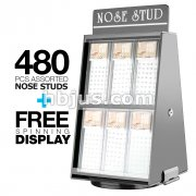 12 Pre Loaded Nose Stud Packs with Rotating Display. All Clear Gem on L Bend, Bone and Screw type. 480 Pcs Total