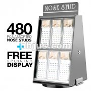 12 Pre Loaded Nose Stud Packs with Rotating Display. Mixed Colo Gem on L Bend, Bone and Screw type. 480 Pcs Total