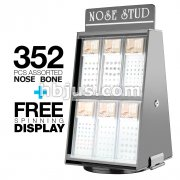 12 Pack of Pre Loaded Nose Bone Studs Mix with Rotaing Counter Top Display. 352 pcs Total