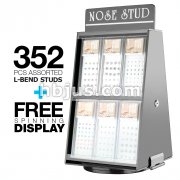 12 Pack of Pre Loaded Nose L Bend  Studs Mix with Rotaing Counter Top Display. 352 pcs Total