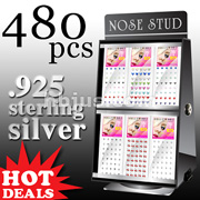 480 Pcs of Assorted .925 Silver Nose Ring Package