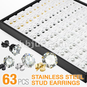 63 Pairs of 316L Surgical Steel Assorted CZ Ear Studs with Puff Pads and
