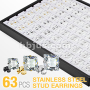 63 Pairs of 316L Surgical Steel Assorted Princess Cut Square CZ Ear Studs with Puff Pads and