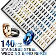 140 Pcs of Assorted Stainless Steel Wedding Band Ring Package with Tray Display