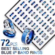 72 Pcs of Assorted Best Selling 316L Stainless Steel Blue IP Band Rings with Square Tray Display