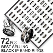 72 Pcs of Assorted Best Selling 316L Stainless Steel Black IP Band Rings with Square Tray Display