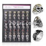 60 Pcs Pre Loaded Stainless Steel Biker Rings Package on Versa Ring Tray (10 Styles x 6 Sizes)