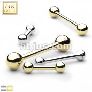 14Kt. Solid Gold Barbell Stud  Rings for Tongue, Ear Cartilage, Industrial, Nipple and More