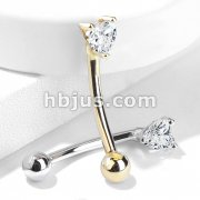 14 Kt. Gold Heart CZ Prong Set Top 16ga Eyebrow Curved Rings