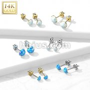 Pair of 14K Gold Ear Studs with Prong Set Opal
