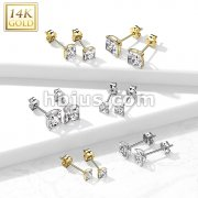 Pair of 14K Gold Ear Studs with Square Prong Set CZ