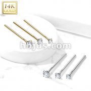 14 Kt. Gold Fishtail Nose Pin with CZ Prong Set Top