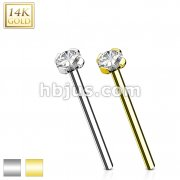 12mm Prong Set CZ Top 14 Karat Solid Gold Fish Tail Nose Ring