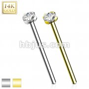 16mm Prong Set CZ Top 14 Karat Solid Gold Fish Tail Nose Ring