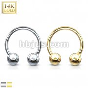 14 Karat Solid Gold Circular Barbell/Horse shoes.