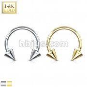 Spike End Horseshoe Circular Barbell 14 Karat Solid Gold