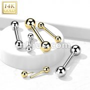 14K Gold Threadless Push-In Barbells For Cartilage, Tongue, Nipple and More