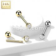 14kt Gold CZ Bezel Set Top Threadless Push-In Barbell