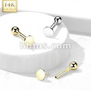 14kt Gold Flat Round Top Threadless Push-In Cartilage Barbell