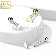 14kt Gold Flat Triangle Top Threadless Push-In Cartilage Barbell