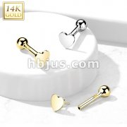 14kt Gold Flat Heart Top Threadless Push-In Cartilage Barbell