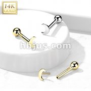 14kt Gold Flat Crescent Moon Threadless Push-In Cartilage Barbell