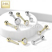 14kt Gold CZ Bezel Set Top Threadless Push-In Cartilage Barbell