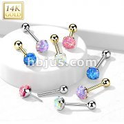 14kt Gold Opal Prong Set Top Threadless Push-In Cartilage Barbell