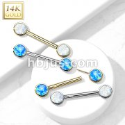 14K Gold Threadless Nipple Barbells with Round Bezel Set Opa Ends