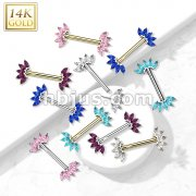 14K Gold Threadless Nipple Barbells with 5-Marquise CZ Set FanEnds
