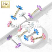 14K Gold Threadless Nipple Barbells with 5-Marquise Opa Set Fan Ends