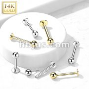 14kt Gold Threadless Push-in Labret, Flat Back Studs With Ball Top for Cartilage, Monroe and More
