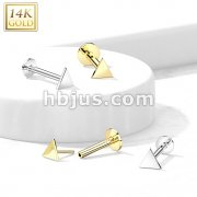 14kt Gold Threadless Push-In Labret With Flat Triangle Top