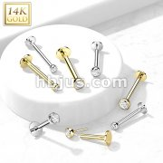 14kt Gold Threadless Push-in Labret, Flat Back Studs With Bezel Set CZ Top for Cartilage, Monroe and More