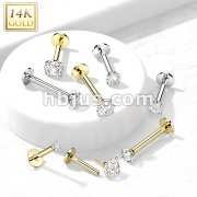 14kt Gold Threadless Push-in Labret, Flat Back Studs With Prong Set CZ Top for Cartilage, Monroe and More