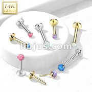 14kt Gold Threadless Push-in Labret, Flat Back Studs With Prong Set Opal Top for Cartilage, Monroe and More