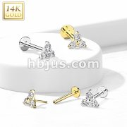 14K Gold Threadless CZ Set Triangle Top Labret, Flat back Stud.
