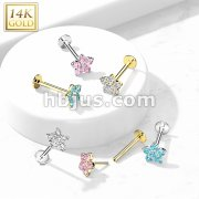 14K Gold Threadless CZ Flower Top Labret, Flat back Stud.