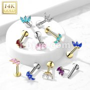 14K Gold Threadless Labret/Flat Back Stud with 3-Marquise CZ Top
