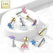 14K Gold Threadless Labret/Flat Back Stud with 3-Marquise Opa Top