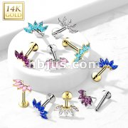 14K Gold Threadless Labret/Flat Back Stud with 5-Marquise CZ Fa Top